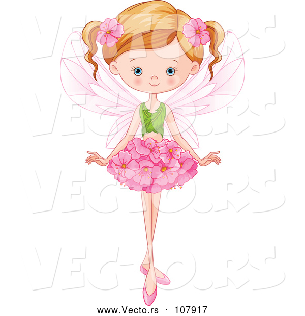 Vector of Blue Eyed, Dirty Blond White Fairy Girl with a Flower Skirt and Leaf Top