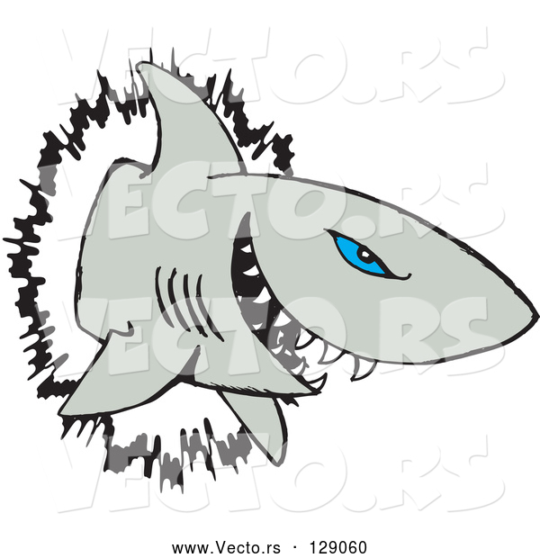 Vector of Blue Eyed Shark Crashing Through a Wall