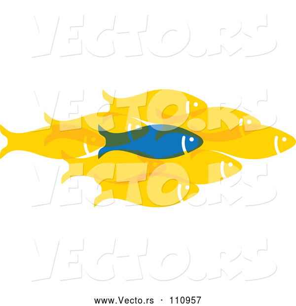 Vector of Blue Fish Standing out from a Group of Yellow Fish