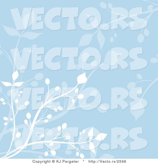 Vector of Blue Floral Vines Background Design with White Branches