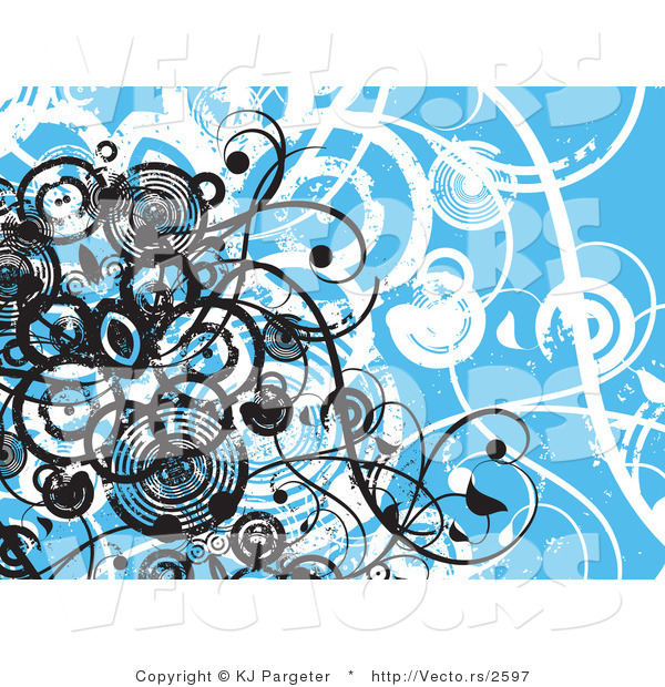 Vector of Blue Floral Vines Grunge Background Design with Black Circles