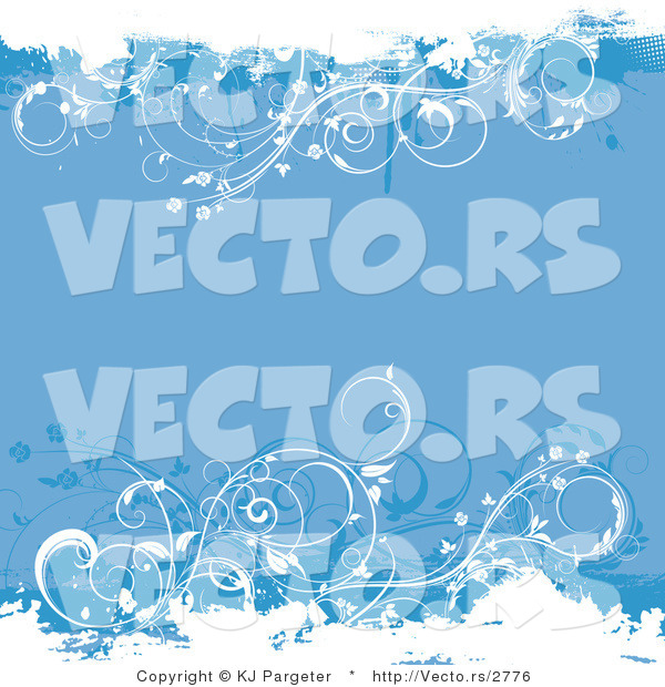 Vector of Blue Floral Vines - Grunge Background Design with Copyspace