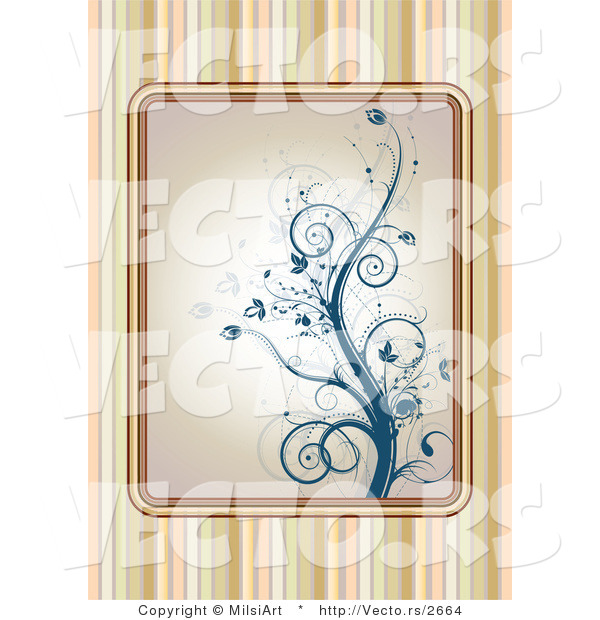 Vector of Blue Floral Vines over a Striped Background Design