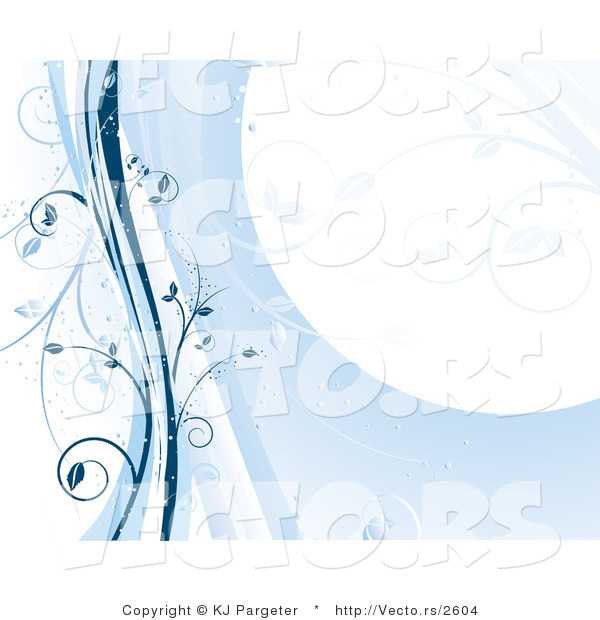 Vector of Blue Floral Vines Stationary Background