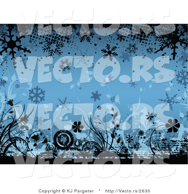 Vector of Blue Floral Winter Grunge Background Design with Flowers and Snowflakes