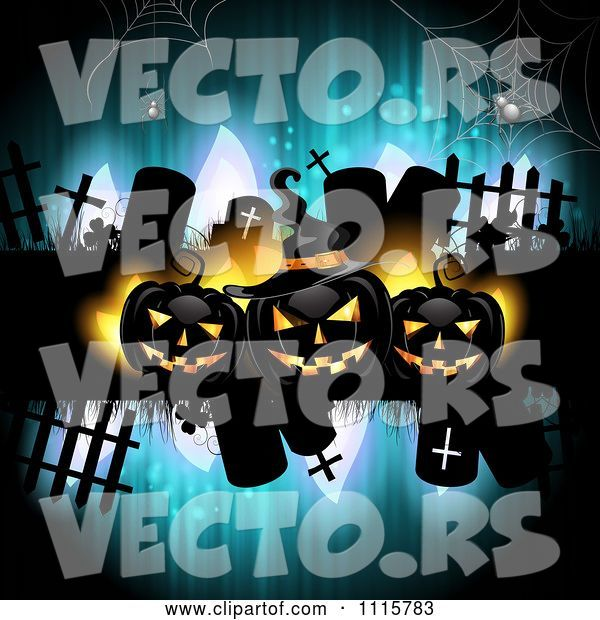 Vector of Blue Halloween Background with Tombstones and Black Jackolanterns 2