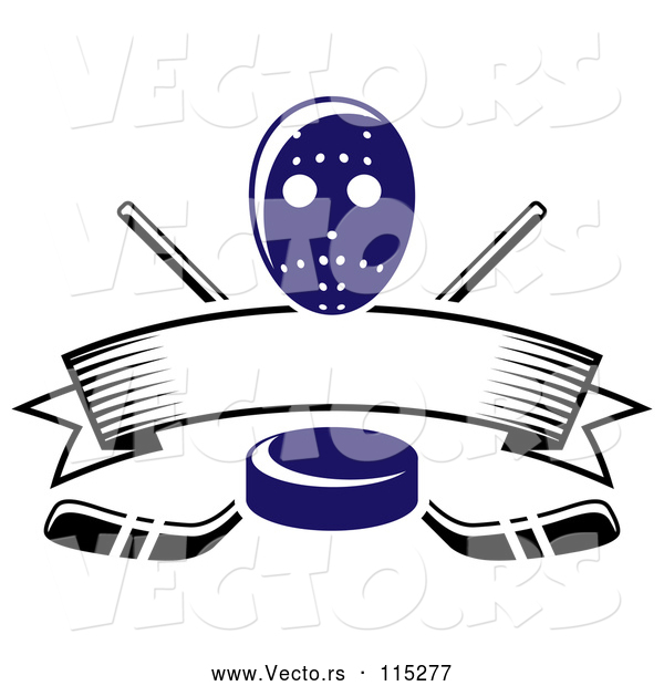 Vector of Blue Hockey Puck over Crossed Sticks a Blank Banner and Mask