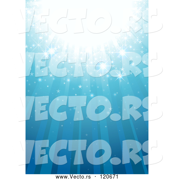 Vector of Blue Magic Background with Rays and Sparkles