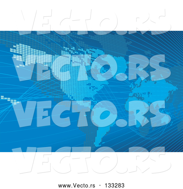 Vector of Blue Map of the Americas and Europe