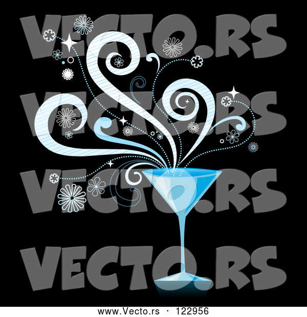 Vector of Blue Martini Cocktail with Splashes on Black