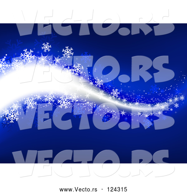 Vector of Blue Snowflake Winter Breeze Background
