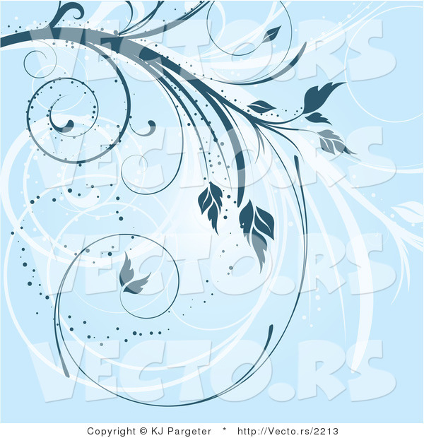 Vector of Blue Swirling Floral Vines Background