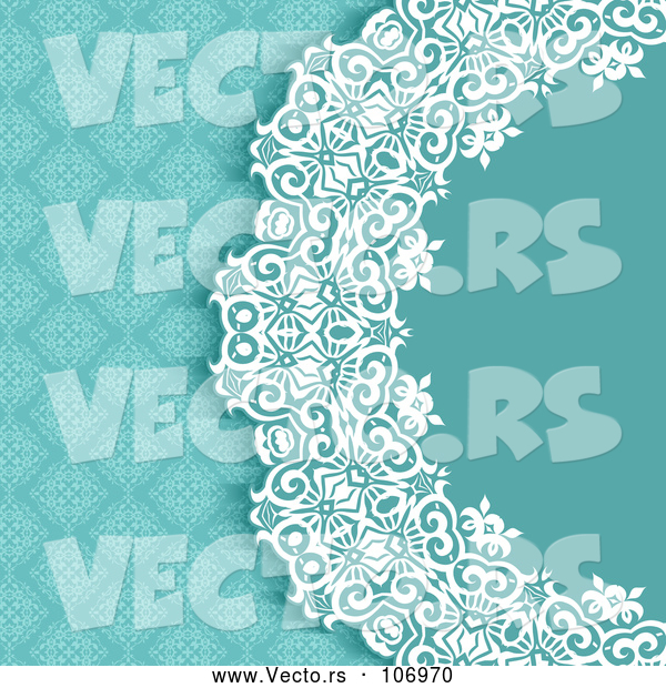 Vector of Blue White and Turquoise Damask Floral Wedding Invitation Background