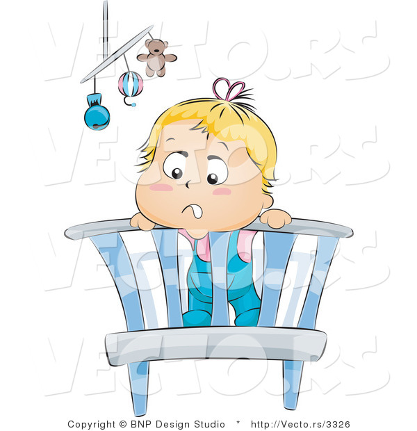 Vector of Bored Baby Standing in a Crib