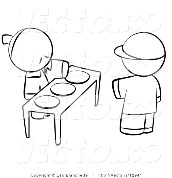 Vector of Boy Choosing Plate of Food for Hungry Young Person - Coloring Page Outlined Art