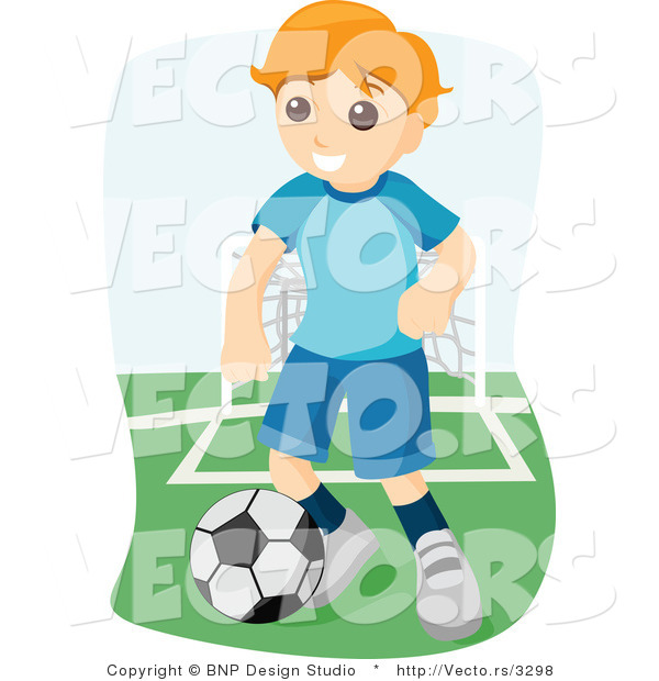 Vector of Boy Playing Game of Soccer