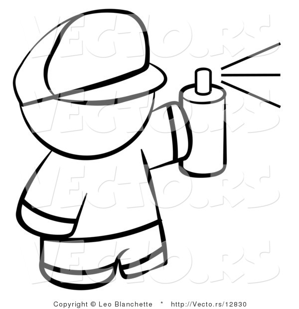Spray Paint Drawings Vector of Boy Spray Painting