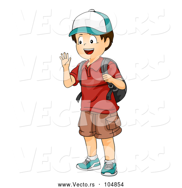 Vector of Boy Waving and Wearing a Backpack