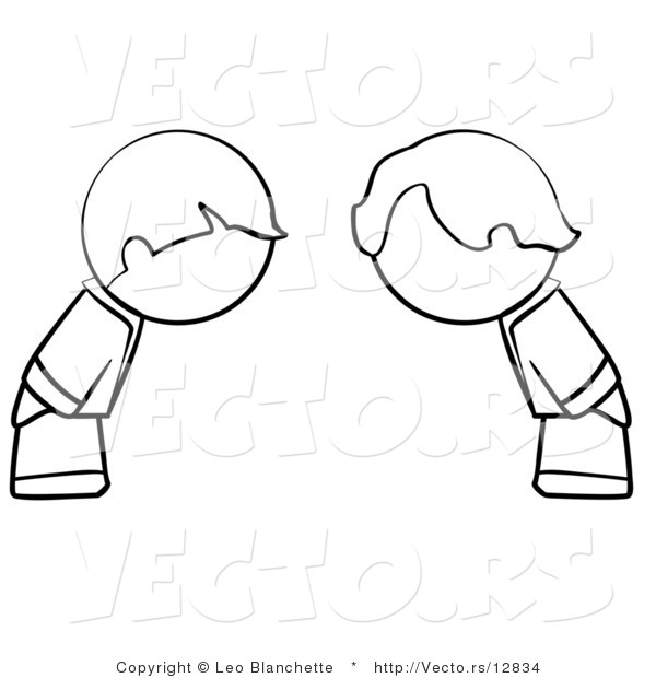 Vector of Boys Bowing - Coloring Page Outlined Art