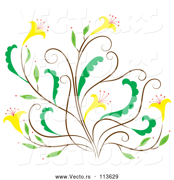 Vector of Brown and Green Floral Design Element with Yellow Flowers