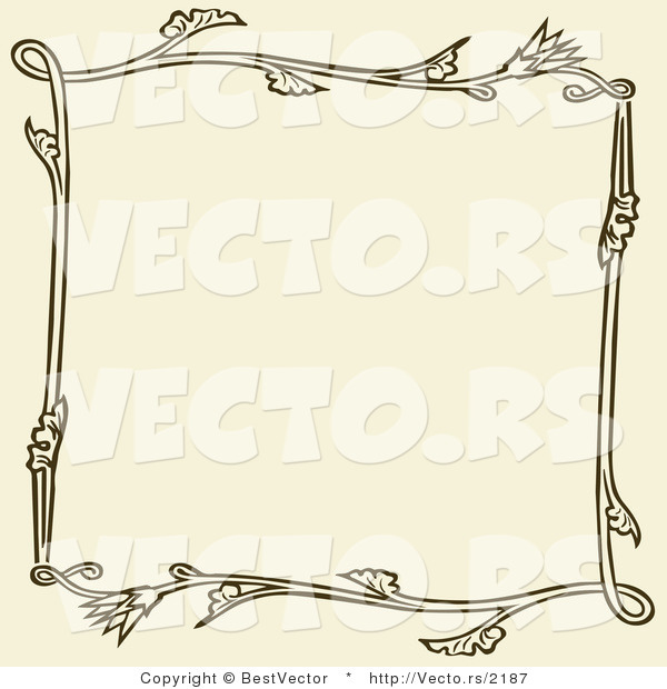 Vector of Brown Floral Frame over Beige Background