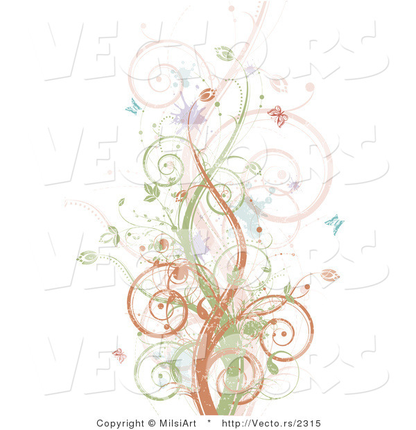 Vector of Brown, Green and Pink Vines Along with Splatters and Butterflies - Background Design