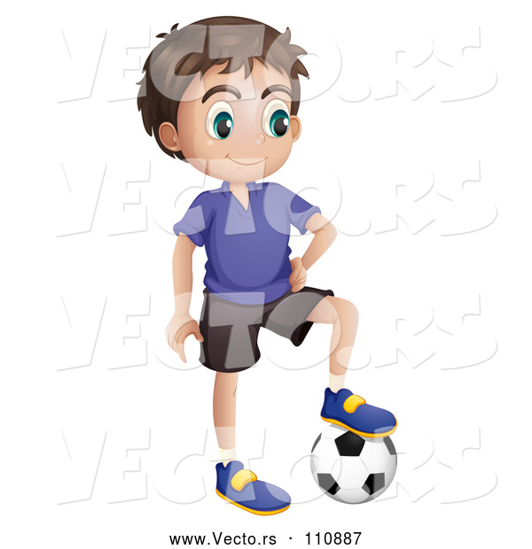 Vector of Brunette Boy Resting a Foot on a Soccer Ball