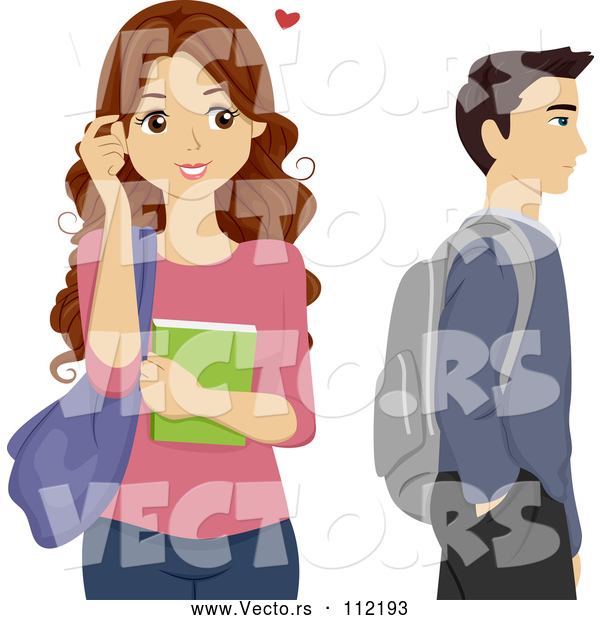 Vector of Brunette High School Teen Girl Crushing on a Male Classmate