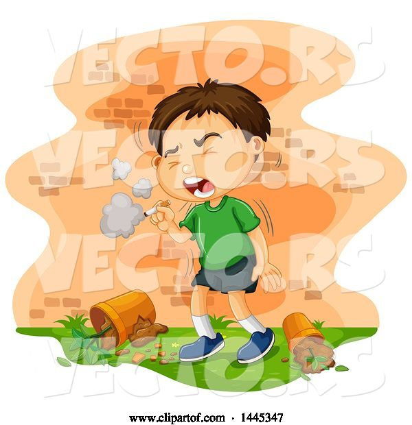 Vector of Brunette White Boy Coughing and Smoking a Cigarette