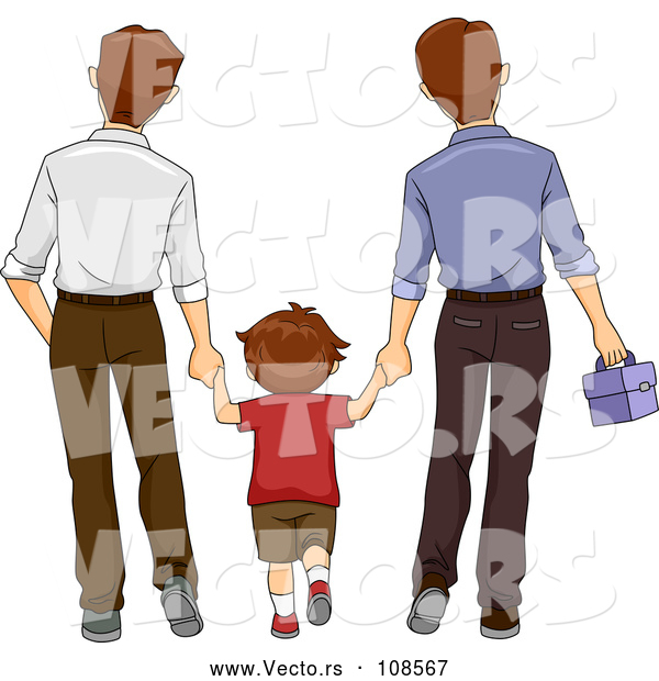 Vector of Brunette White Boy Holding Hands and Walking with His Two Dads