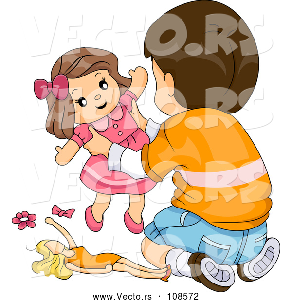 Vector of Brunette White Boy Playing with Toy Dolls