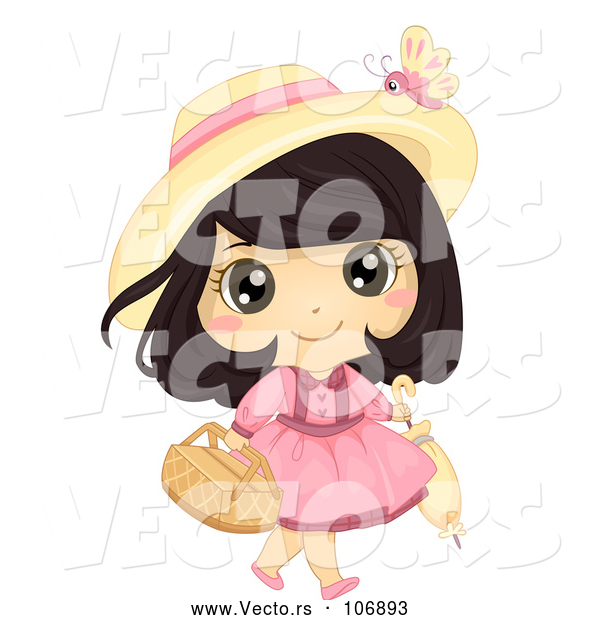 Vector of Brunette White Girl Carrying a Picnic Basket and Umbrella