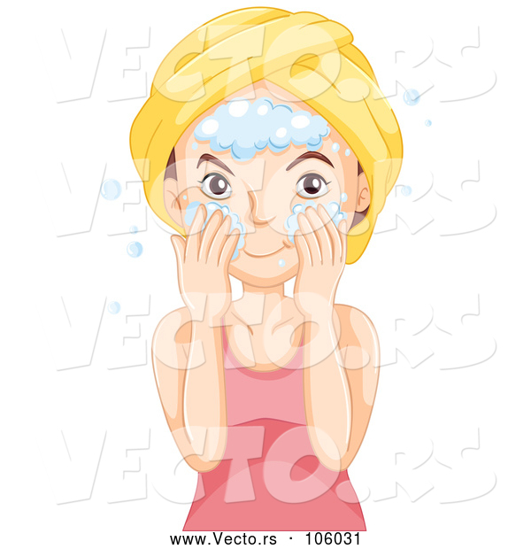 Vector of Brunette White Lady Washing Her Face