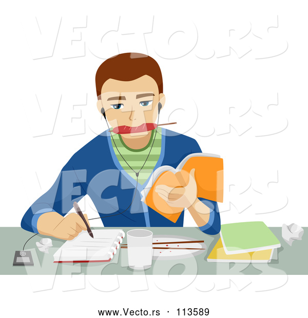 Vector of Brunette White Male Student Eating, Writing, Listenting to Music and Studying