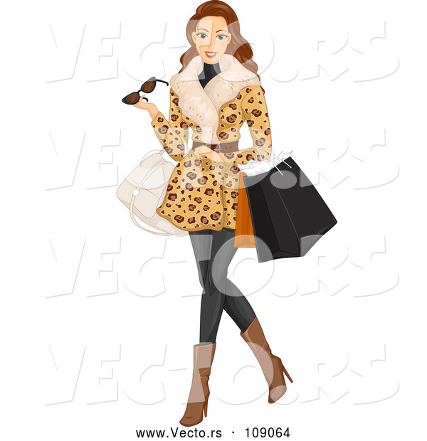 Vector of Brunette White Woman Wearing a Fur Coat and Shopping