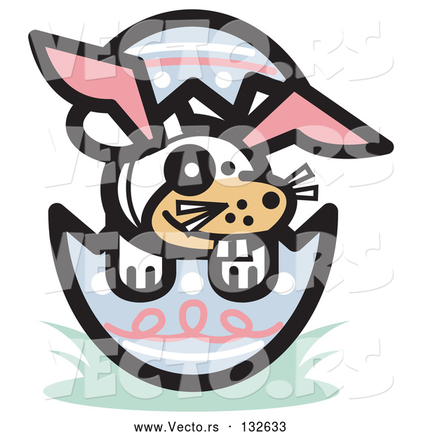 Vector of Buck Toothed Dog Wearing Bunny Ears in an Easter Egg