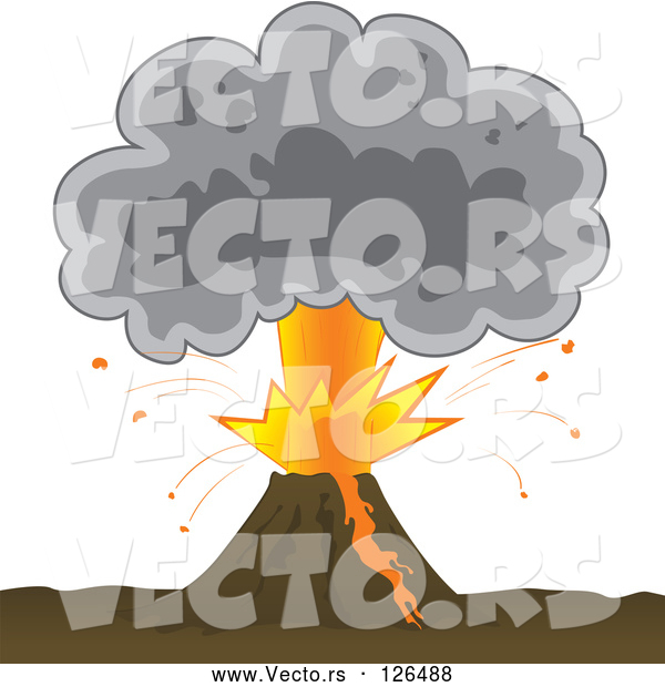 Vector of Bursting Volcano with an Ash Cloud