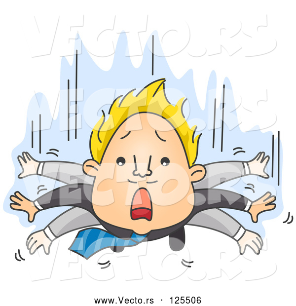 Vector of Business Man Flapping His Arms While He Falls