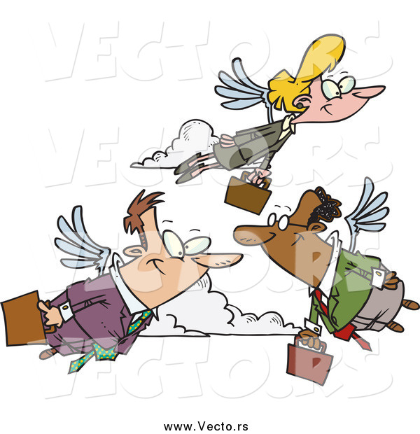 Vector of Business Professionals Carrying Briefcases, Flying with Wings on Their Way to Work, Transportation of the Future