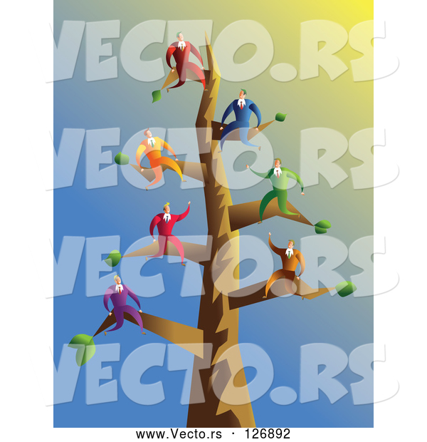 Vector of Businessmen on Tree Branches