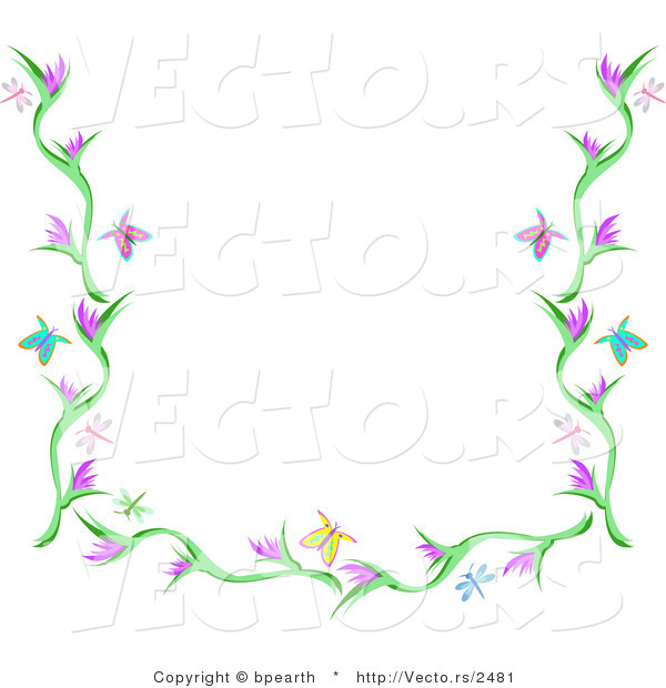 Vector of Butterflies, Dragonflies and Flowers Background Border Design