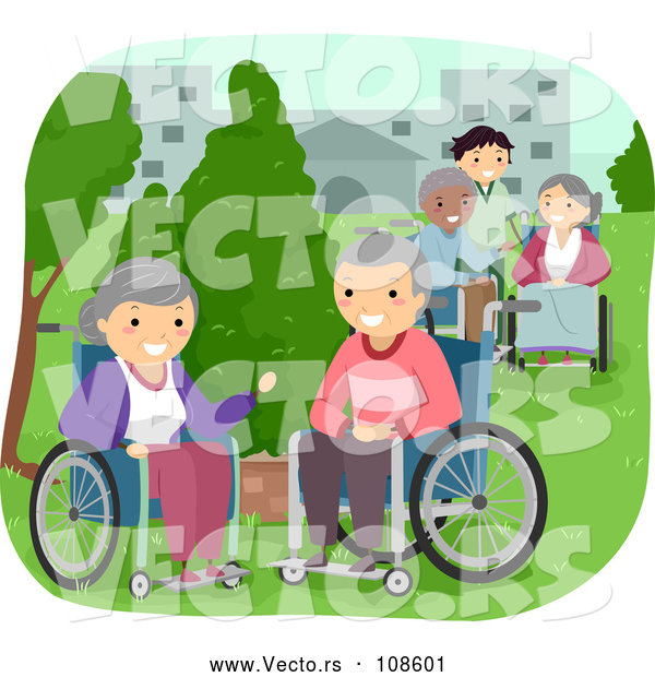 Vector of Caregiver and Senior Citizens in Wheelchairs, Enjoying a Park