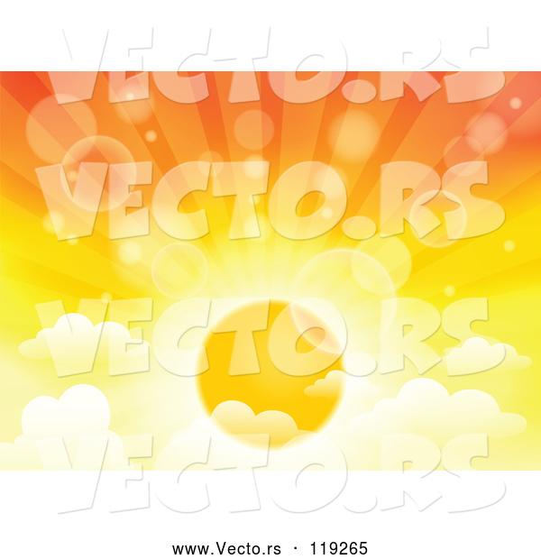 Vector of Cartoon | Sunset Sky with the Sun Rays and Clouds with Flares| Royalty Free Vector Clipart