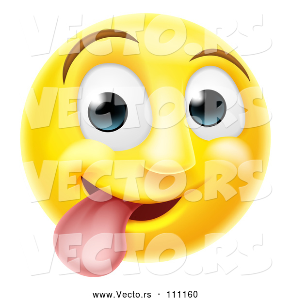 : Vector of Cartoon 3d Silly Yellow Smiley Emoji Emoticon Face Sticking His Tongue out
