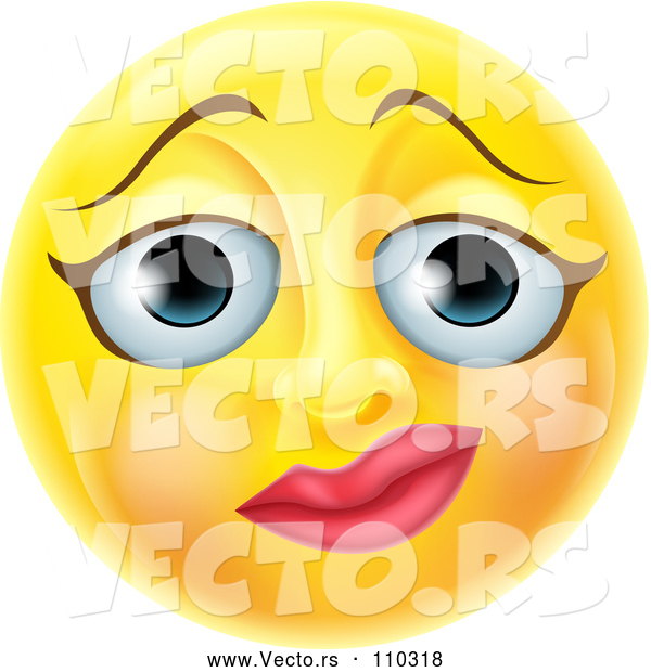 : Vector of Cartoon 3d Yellow Female Smiley Emoji Emoticon Face with a Nervous Expression