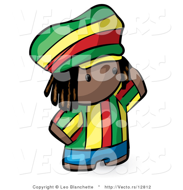 Vector of Cartoon African Boy Wearing Bright Green, Yellow, Red, and Blue Clothes
