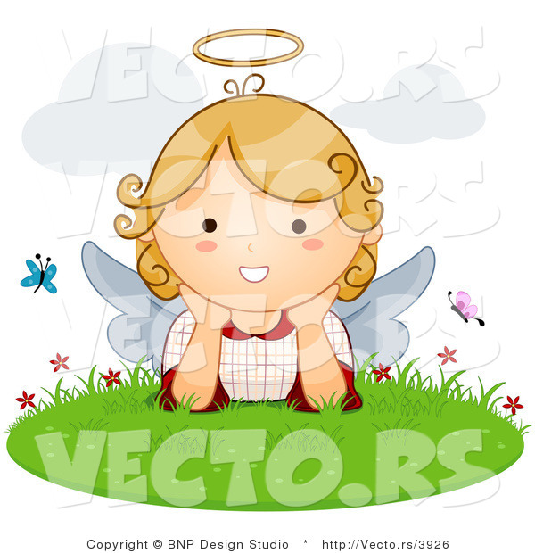 Vector of Cartoon Angel Girl with Butterflies in the Grass