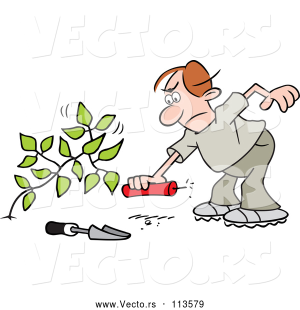 Vector of Cartoon Angry Brunette White Guy Laying a Stick of Dynamite by a Weed