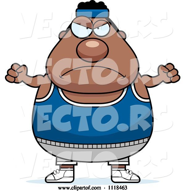 Vector of Cartoon Angry Plump Black Gym Guy