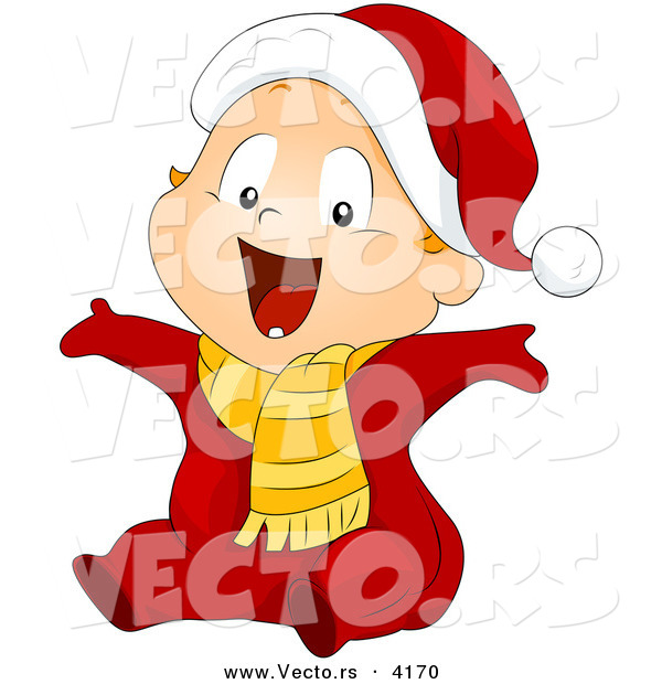 Vector of Cartoon Baby Boy Wearing a Santa Suit